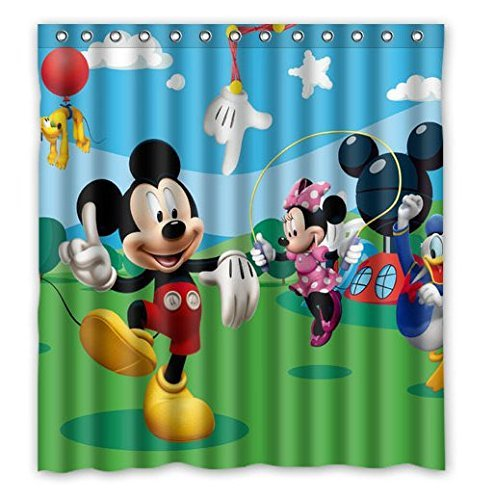 Custom Cartoon Mickey Mouse Pattern Waterproof Bathroom Shower Curtain 100% Polyester Fabric Shower Curtain Standard Size 66 X 72 (Mickey Mouse Curtains)