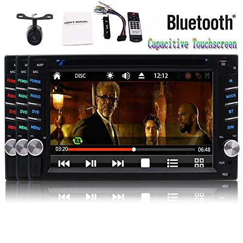 6.2 inch Double Din Car Stereo in Dash Capacitive Touch Screen Car DVD Player 1080P Video 2 din Autoradio Bluetooth NO-GPS Stereos Support USB TF FM/AM RDS SWC Remote Control + Reversing Camera