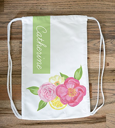 Personalized Floral Bag Pack, Personalized Flower Tote Bag for Women, Floral Drawstring Bag, Flower Bagpack, Beach Bag for Girls, Floral Drawstring Backpack, Floral Tote Bag, Personalized Beach Tote