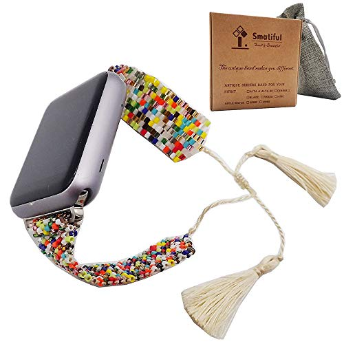 Smatiful Slim Fun Strap para Girls Mens, xs Small Big Large XL Size Watch Band Accessories for Apple Watch 42mm 44mm, Random Color (Red Yellow Gray Pink Black Tan Navy Blue Green) Mixed,Neon Mosaic