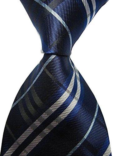 Duchamp Ties - Secdtie Men's Classic Checks Navy Jacquard Woven Silk Tie Business Necktie