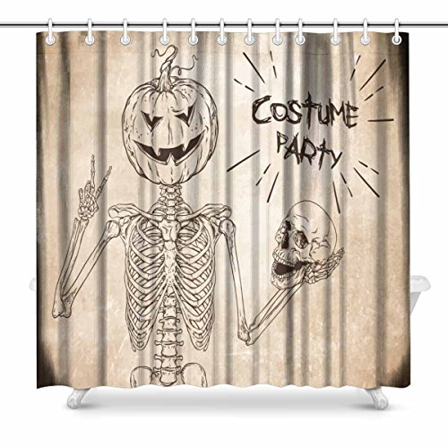 InterestPrint Human Skeleton with Halloween Pumpkin Prints Shower Curtain for Bathroom Decorations Sets, 72 x 72 Inches