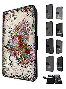 1079 - diseño con corazón y flores con cool diseño retro diseño Sony Xperia Z5 Compact estrellamás/mini moda billetera de cuero TPU con la tendencia con tapa de estilo libro para tarjetas de crédito titular de la tarjeta