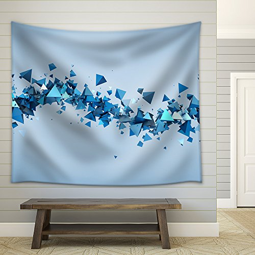 Abstract 3d rendering of chaotic particles Background of pyramids in empty space Fabric Wall