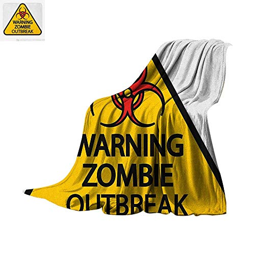 Luoiaax Zombie Warm Microfiber All Season Blanket Warning The Zombie Outbreak Sign Cemetery Infection Halloween Graphic Summer Quilt Comforter 62