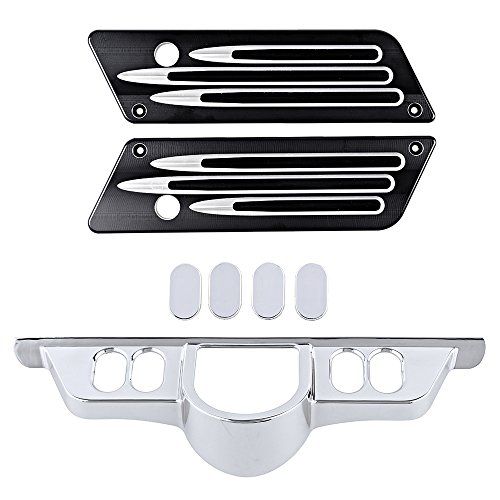 Astra Depot Billet CNC Aluminum Saddlebag Latch Covers + Set Chrome Switch Dash Panel Accent Insert Cover Kit Compatible with Harley Touring Electra Street Glides ()