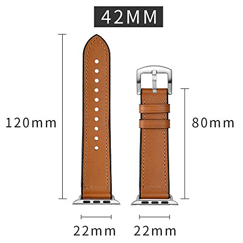 Sweatproof Hybrid Leather Sports Watch Band Vintage Replacement Bands for Apple Watch iwatch Series 123 Dark Brown Replacement Straps with Sliver Stainless Steel Buckle Clasp (42mm, Brown) by WTHSTRAP (Image #4)