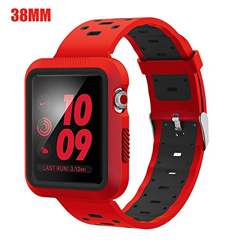 EloBeth Compatible Apple Watch Band 38mm with Case, Soft Silicone Sport Strap iWatch Band with Shock Resistant Protective Case for Apple Watch Band Series 3/2/1 Nike+ Sport Edition (Red/Black, 38mm) by EloBeth