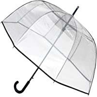 COLLAR AND CUFFS LONDON - Windproof Extra Strong - StormDefender ClearVision - Highly Engineered to Combat Inversion Damage - Fiberglass Ribs - Large Dome Canopy - Black Trim - Clear Umbrella