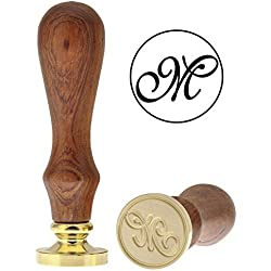 Letter M Wax Seal Stamp, Yoption Vintage Retro Brass Head Wooden Handle Alphabet Letter M Classic Sealing Wax Seal Stamp (M)