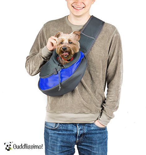 Cuddlissimo! Pet Sling Carrier for Cats Dogs (Blue) -
