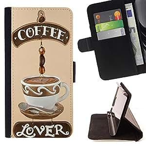 Dragon Case - FOR Samsung Galaxy S3 III I9300 - Coffee like lover - Caja de la carpeta del caso en folio de cuero del tir¨®n de la cubierta protectora Shell