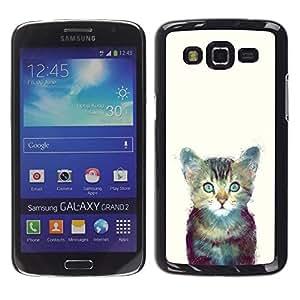 Be Good Phone Accessory // Dura Cáscara cubierta Protectora Caso Carcasa Funda de Protección para Samsung Galaxy Grand 2 SM-G7102 SM-G7105 // Cute Space Kitten Cat Furry Painting