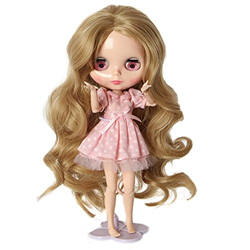 Wigs Only!Heat Resistant Synthetic Blonde Body Wavy Blythe/Pullip Doll Wig Gift for Your Baby Doll (Doll Wig)