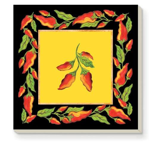 CounterArt Decorative Absorbent Coasters, Chili Pepper Square, Set of 4