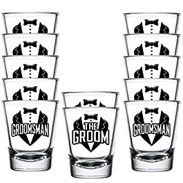 Shop4Ever The Groom and Groomsman Tuxedo Glass Shot Glasses Wedding Bachelor Party Shot Glasses (12 Pk, Groomsman Tux)