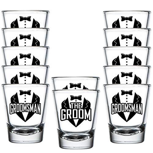Shop4Ever The Groom and Groomsman Tuxedo Shot Glasses ~ Bachelor Party Favors ~ (12 Pack, Tuxedo)