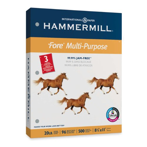 Hammermill Paper, Fore MP, 20lb, 8 x 11, 3 Hole Punch, 96 Bright, 500 Sheets / 1 Ream (103275), Made In The USA