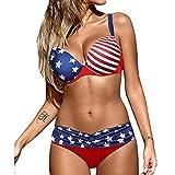 Two Piece America Flag Print Bikini Set for Women Bathing Suit Sexy Ruffled Push Up Padded High Waist Swimsuit Swimwear Daorokanduhp