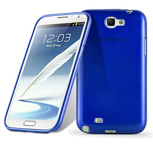 Cadorabo Case Works with Samsung Galaxy Note 2 in Blue - Shockproof and Scratch Resistant TPU Silicone Cover - Ultra Slim Protective Gel Shell Bumper Back Skin