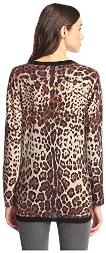 James & Erin Women's Cashmere Leopard Cardigan, Natural Multi, L by James & Erin (Image #2)