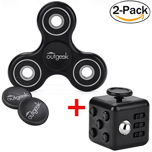 Fidget-Spinner-Outgeek-Fidget-Cube-Fidget-Toys-Tri-Fidget-Hand-Spinner-Fidget-Dice-Stress-Reducer-Perfect-For-ADD-ADHD-Anxiety-and-Autism-2-Pack