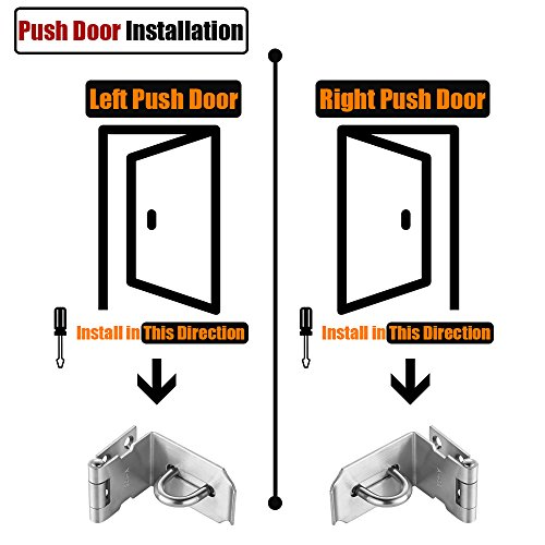 JQK Door Hasp Latch 90 Degree, Stainless Steel Safety Angle Locking Latch for Push/Sliding / Barn Door, 1.5mm Thickness Satin Nickel 2 Pack, 4 Inch by JQK (Image #2)