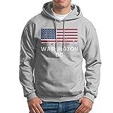 Mans Pullover Hoodies Washington DC American Flag Print Casual Cool Winter Hoody Sweatshirt