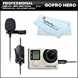 Professional lavalier (lapel) omni directional condenser microphone 20 foot audio cable adapter for GoPro HD Hero - Hero3 - Hero Plus - GoPro HERO4 Silver - GoPro HERO4 Black Action camera