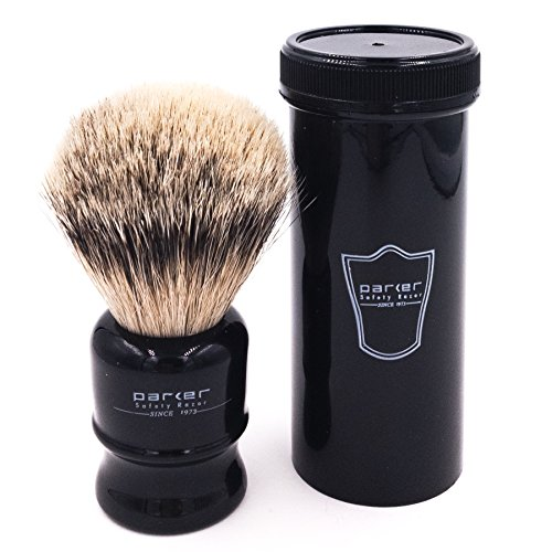 Parker Safety Razor,100% Silvertip Travel Shave Brush with Case, Black ()