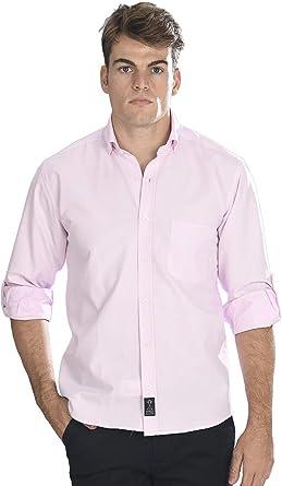 Camisa Oxford Manga Larga de Hombre en Rosa - 8_4XL, Rosa: Amazon.es: Ropa y accesorios