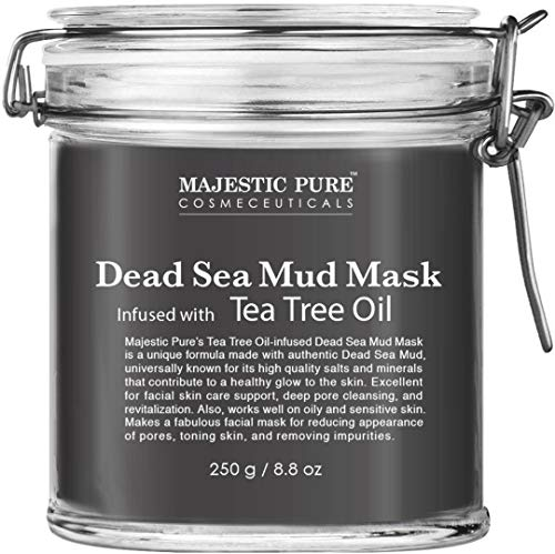 MAJESTIC PURE Dead Sea Mud Mask Infused With Tea Tree Oil - Natural Face and Skin Care For Women and Men - Reduces Acne and Blackhead - Promotes Youthful Skin - 8.8 oz
