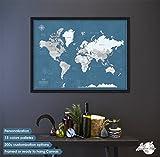 Push Pin World Travel Map Framed - Push Pin Board - World Push Pin Map with Frame - Personalized World map