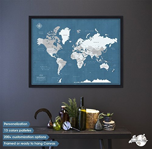 Push Pin World Travel Map Framed - Push Pin Board - World Push Pin Map with Frame - Personalized World map by Pin Adventure map