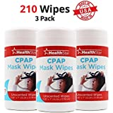 Healthstar CPAP Mask Cleaning Wipes, 3 Pack, 210 Total Wipes, Unscented, Lint Free