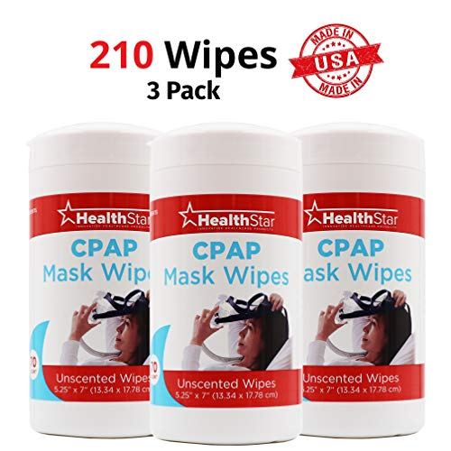 (Healthstar CPAP Mask Cleaning Wipes, 3 Pack, 210 Total Wipes, Unscented, Lint)