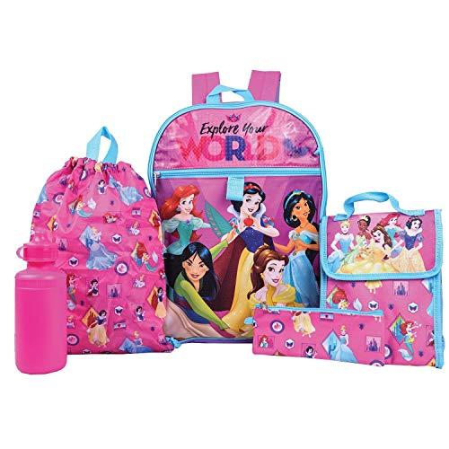 Disney Princess Backpack Combo Set - Disney Princess 5 Piece Backpack School Set
