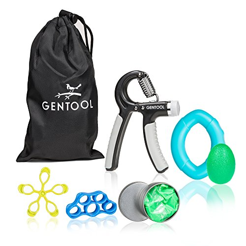 Gentool Hand Grip Strengthener Workout Set : Adjustable Resistance Hand Strengthener, Finger Exerciser, Finger Stretcher, Grip Ring, Hand Grip Ball and Therapy Putty + (6 Tool Medium Set)