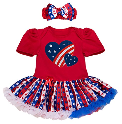 StylesILove Infant Toddler Baby Girl 4th of July American Flag Holiday Short Sleeve Romper Tutu Dress and Headband 2 pcs Set Outfit (80/6-12Months, Double Heart with Striped Star Printed Tutu)