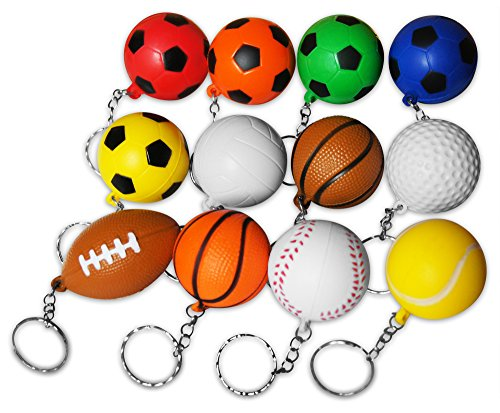 Novel Merk 12-Piece Sports Ball Keychains Pack for Kids Party Favors & School Carnival Prizes Includes 12 Different Designs