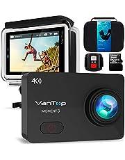 """VANTOP Moment 3 Action Cam 4K WiFi Sports Kamera Helmkamera 16MP Wasserdicht Unterwasserkamera Ultra HD 2.26"""" LCD 170° Weitwinkelobjektiv 32 GB TF-Karte mit 2 Batterien und Kostenlose Zubehör Kits"""