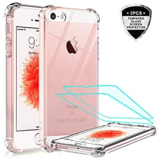 iPhone SE Case (2016), iPhone 5S Case, iPhone 5 Case with 2 Tempered Glass Screen Protector, LeYi Crystal Clear Hard PC Soft TPU Shock-Absorption Bumper Slim Phone Cover Cases for iPhone SE / 5 / 5S