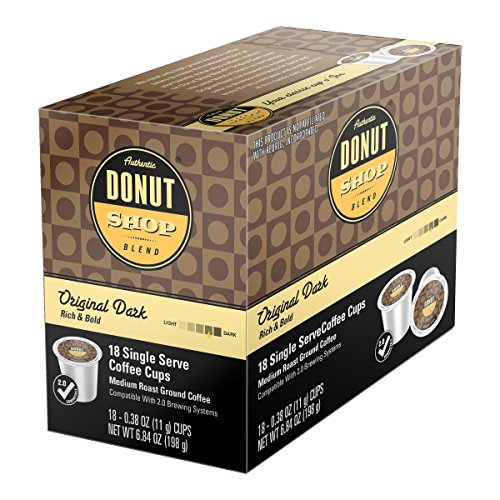 Donut Shop Single Cup Coffee Flavors Original Roast Original Dark Chocolate Chip Cookie Vanilla Hazelnut Decaffeinated For all Single Cup Coffee Machines Built off of Keurig & Touch Brewers platform (Original Dark, 18)
