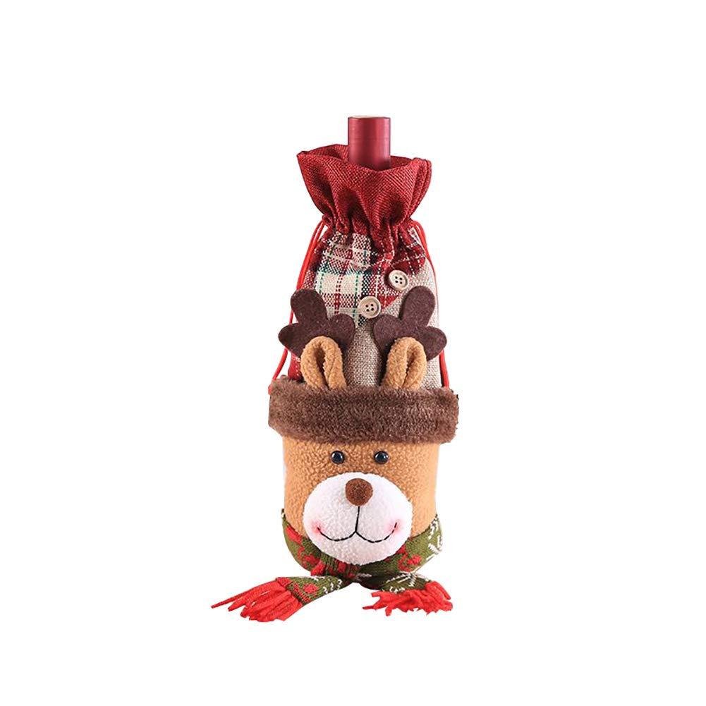 Gysad de Noël Bouteille de Vin Couverture Sacs Xmas Ugly Pull Vin fête Décor 16×32cm Père Noël