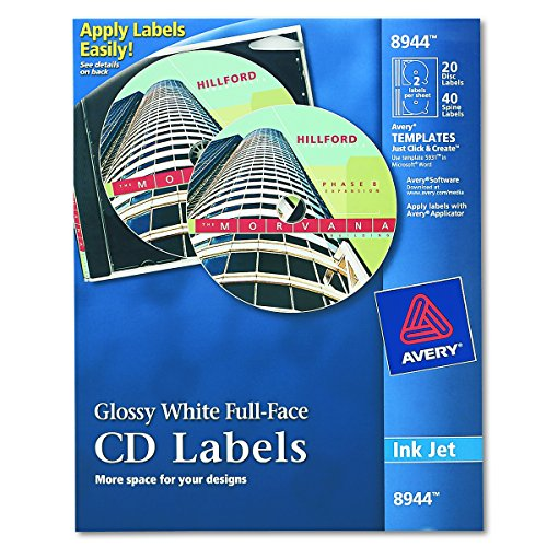Avery Full-Face CD Labels for Inkjet Printers, Glossy White, 20 Disc Labels and 40 Spine Labels  (8944) (Labels Cd Face Full)