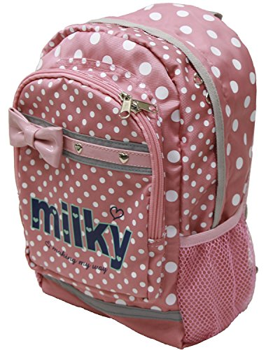 EXAS Kids Milky Junior Dot Print Backpack Daypack Pink (Dots Milky)
