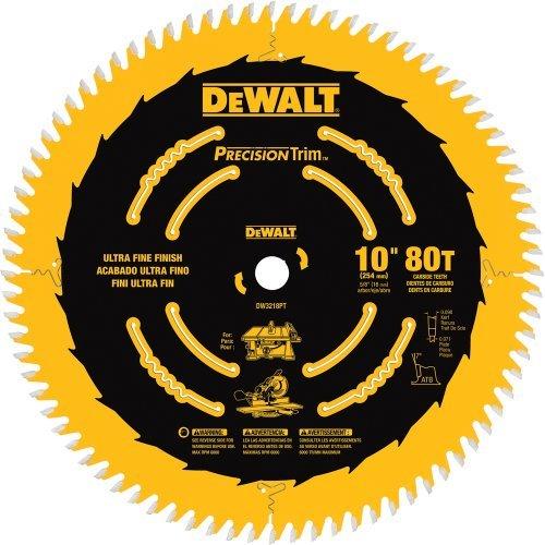 DEWALT DW3218PT 10-Inch 80 Tooth ATB Crosscutting Saw Blade with 5/8-Inch Arbor and Tough Coat Finish by DEWALT