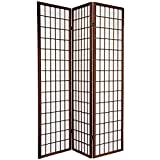 ORIENTAL FURNITURE 6 ft. Tall Window Pane Shoji Screen - Walnut - 3 Panels