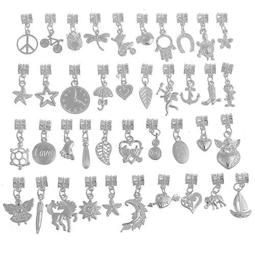 - RUBYCA 120Pcs Tibetan White Silver Plated Metal Connector Bails Mix Bead Pendant Charm Bracelet 501