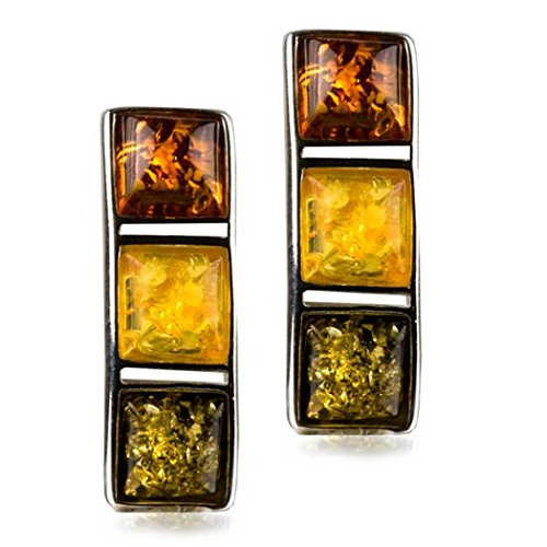 Sterling Silver Multicolor Amber Modern Stud Earrings